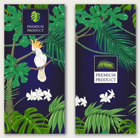 Set van twee sjablonen voor label voor premium product of kaarten, uitnodiging, banner met tropische planten, palmbladeren, monsters, orchideeën en vogels. Gekleurde vectorillustratie