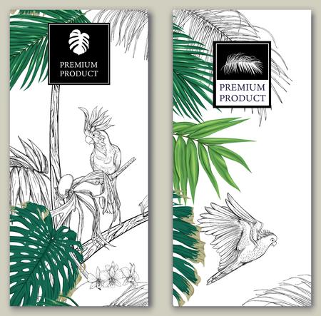 Set van twee sjablonen voor label voor premium product of kaarten, uitnodiging, banner met tropische planten, palmbladeren, monsters, orchideeën en vogels. Gekleurd en schetsontwerp. Vector illustratie.