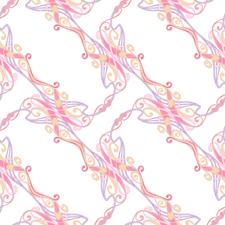 Seamless pattern, background with floral ornament In art nouveau style, vintage, old, retro style. In light ultra violet pastel colors Isolated on white background. Vector illustration