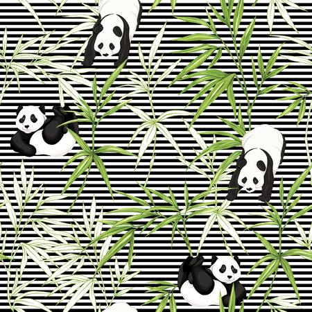 Seamless pattern, background. with pandas and bamboo.  Vector illustration without gradients and transparency.  On black-and-white stripes background. Colored and outline design.