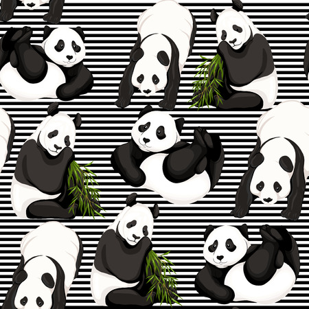 Seamless pattern, background. with pandas and bamboo.  Vector illustration without gradients and transparency.  On black-and-white stripes background