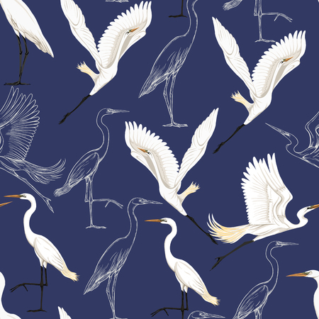 Naadloze patroon, achtergrond met tropische vogels. Witte reiger, kaketoe papegaai, gekleurd en schets ontwerp op marineblauwe achtergrond... Vectorillustratie.