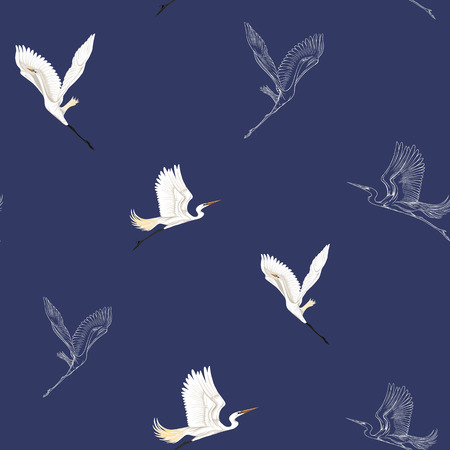 Seamless pattern, background with tropical birds. White heron, cockatoo parrot,  Colored and outline design on navy blue background.. Vector illustration.  イラスト・ベクター素材
