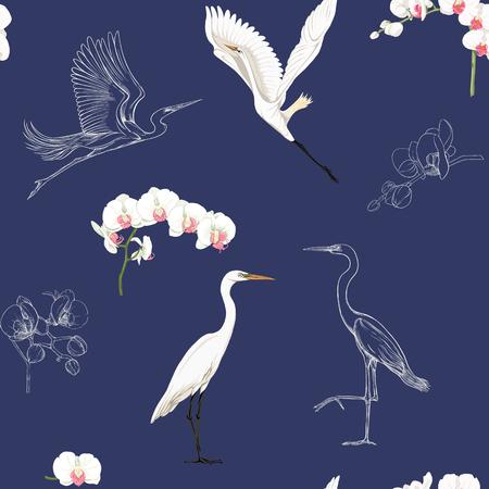 Nahtloses Muster, Hintergrund mit tropischen Vögeln. Weißer Reiher, Kakadu-Papagei, Farbige und Umrissdesign auf marineblauem Hintergrund. Vektor-Illustration.