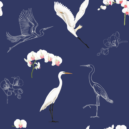 Seamless pattern, background with tropical birds. White heron, cockatoo parrot,  Colored and outline design on navy blue background.. Vector illustration. Ilustracja