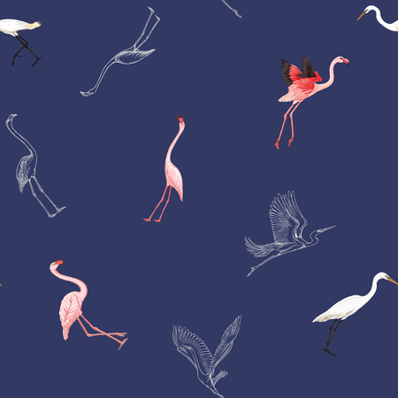 Seamless pattern, background with tropical birds. White heron, flamingo. Colored and outline design on navy blue background.. Vector illustration. Banque d'images - 115848235