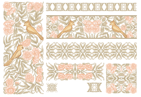 Floral pattern with birds in art nouveau style, vintage, old, retro style. Set of decorative elements for design. Colored vector illustration. Isolated on white background. In soft orange and green co