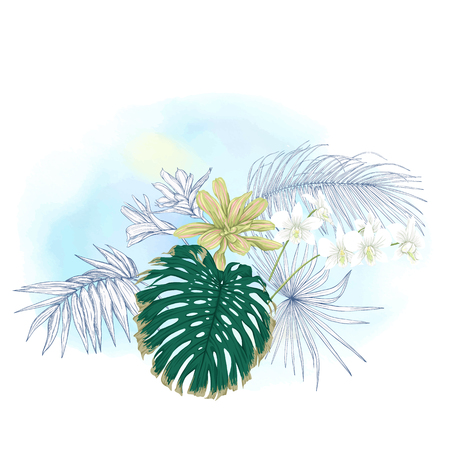 A composition of tropical plants, palm leaves, monsters and white orchids In botanical style. Colored and outline design on watercolor background. Vector illustration.
