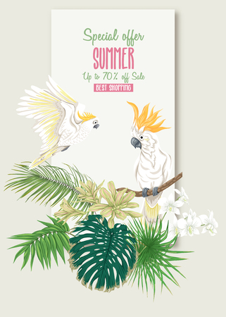 Template for greeting card, invitation or banner  with tropical plants, palm leaves, monsters and orchids with cockatoo parrot. Colored vector illustration.