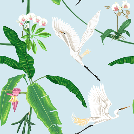 Seamless pattern, background. with tropical plants and flowers with white orchid and tropical birds on sky blue background. Colored vector illustration without gradients and transparency.