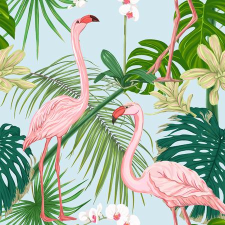 Wzór, tło. z tropikalnymi roślinami i kwiatami z białą orchideą i tropikalnymi ptakami na niebieskim tle nieba. Kolorowych ilustracji wektorowych bez gradientów i przezroczystości. Ilustracje wektorowe