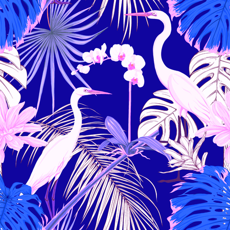 Seamless pattern, background. with tropical plants and flowers with white orchid and tropical birds in neon, fluorescent colors. Colored and outline design. Vector illustration.