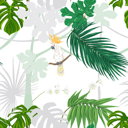 Seamless pattern, background. with tropical plants and flowers with white orchid and tropical birds. Colored and silhouette design. Vector illustration. Isolated on white background.