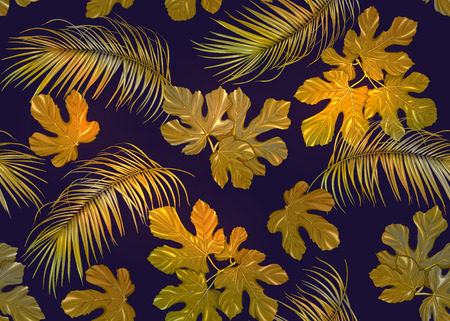 Tropic leaves seamless pattern in gold colors. Colored vector illustration. Isolated on black background.