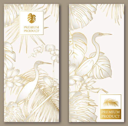 Set of two templates for label for premium product or cards, invitation, banner  with tropical plants, palm, monsters, orchids and birds. Outline hand drawing vector illustration.  In gold and white. Standard-Bild - 117276193