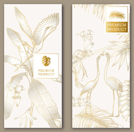 Set of two templates for label for premium product or cards, invitation, banner  with tropical plants, palm, monsters, orchids and birds. Outline hand drawing vector illustration.  In gold and white.