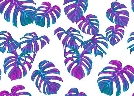 Tropic hinterlässt nahtloses Muster in Neonfarben. Farbige Vektorillustration. Isoliert auf weißem Hintergrund.