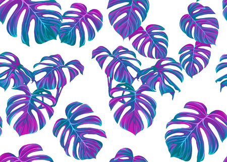 Tropic leaves seamless pattern in neon colors. Colored vector illustration. Isolated on white background. Фото со стока - 112243516