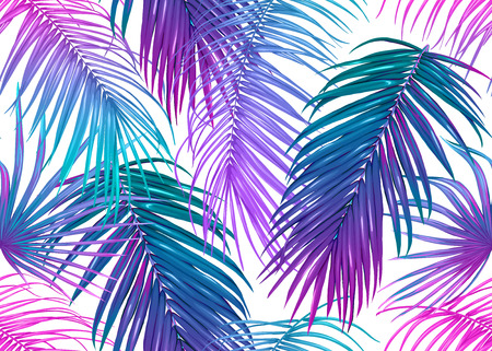 Tropic leaves seamless pattern in neon colors. Colored vector illustration. Isolated on white background.