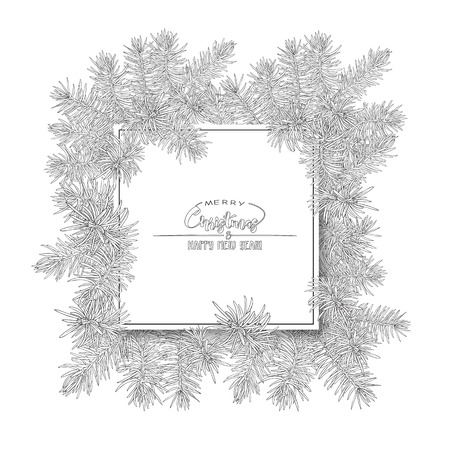 Fir branches. Template for greeting card for merry christmas and New Year,  invitation or sale banner, gift voucher. Isolated on white background. Outline hand drawing vector illustration.