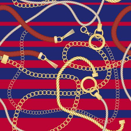 Gold chains and belts seamless patterns for fabric design. Colored vector illustration. On red and blue stripes background. Standard-Bild - 125559222