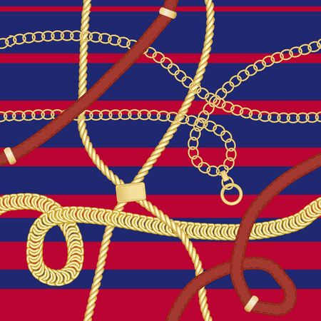 Gold chains and belts seamless patterns for fabric design. Colored vector illustration. On red and blue stripes background.