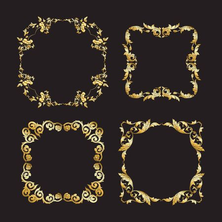 Chinese national ornament. Set of elements.  In gold and blackVector illustration in gold colors. Stockfoto - 130790829