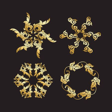 Chinese national ornament. Set of elements.  In gold and blackVector illustration in gold colors. Stockfoto - 130790906