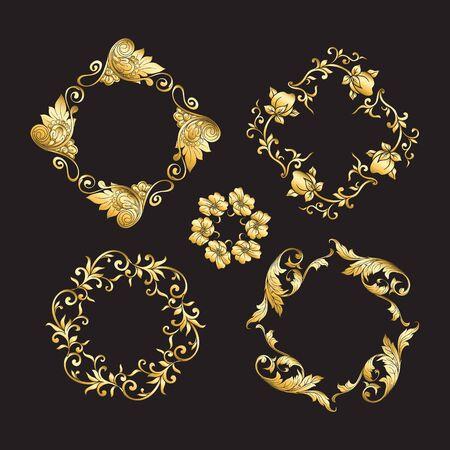 Ornement national chinois. Ensemble d'éléments. En or et noirIllustration vectorielle en couleurs or.