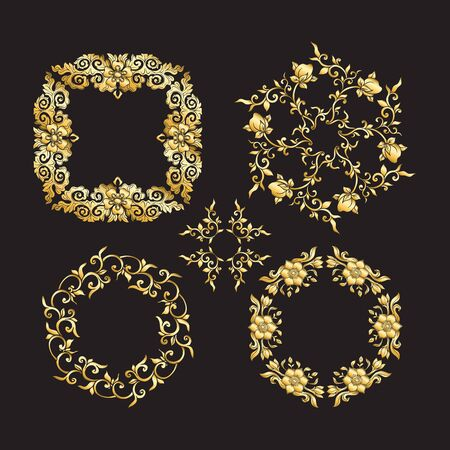 Chinese national ornament. Set of elements.  In gold and blackVector illustration in gold colors.