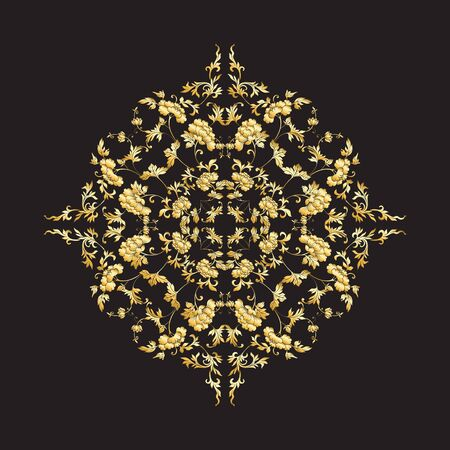 Chinese national ornament. Mandala element.  In gold and blackVector illustration in gold colors.  イラスト・ベクター素材