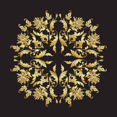 Ornement national chinois. Élément de mandala. En or et noirIllustration vectorielle en couleurs or.