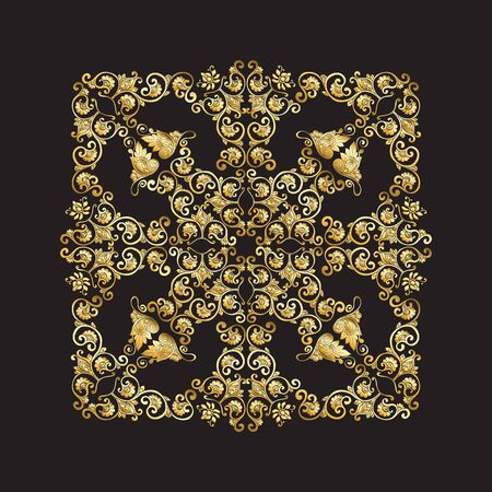 Chinese national ornament. Mandala element.  In gold and blackVector illustration in gold colors. Illustration
