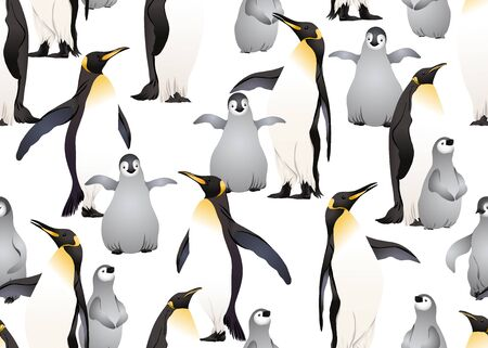 Emperor penguins seamless pattern. Vector illustration.