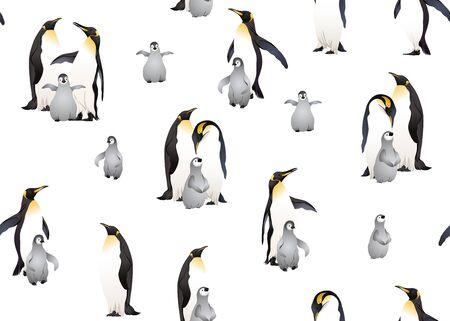 Emperor penguins seamless pattern. Vector illustration.
