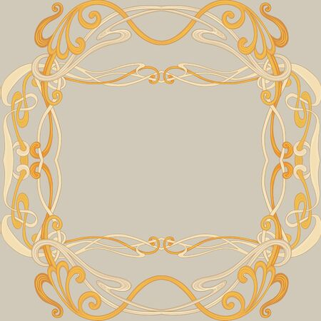 Seamless pattern, background with floral ornament In art nouveau style, vintage, old, retro style. In gold colors. Vector illustration