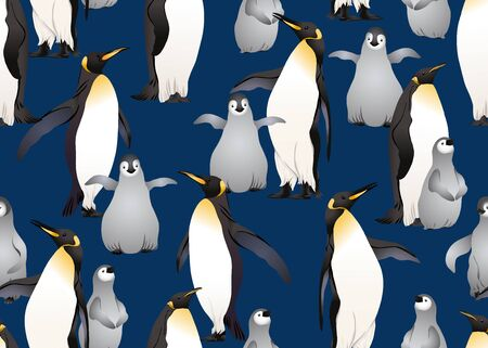 Emperor penguins seamless pattern. Colored and outline design. Vector illustration. Foto de archivo - 130790917