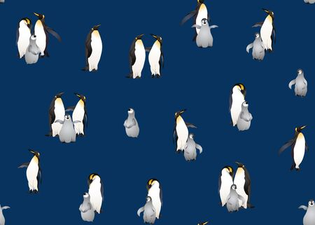Emperor penguins seamless pattern. Colored and outline design. Vector illustration. Foto de archivo - 130790919