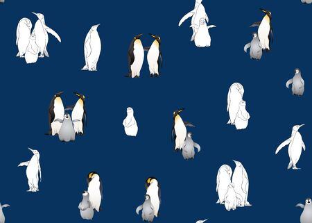 Emperor penguins seamless pattern. Colored and outline design. Vector illustration.
