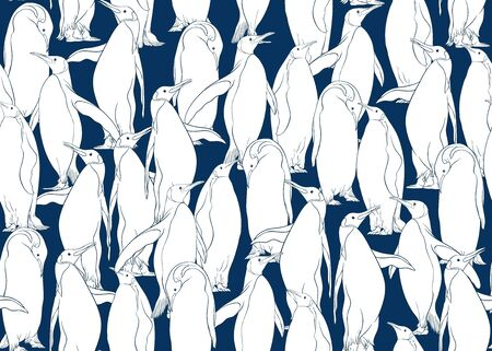 Emperor penguins seamless pattern. Colored and outline design. Vector illustration.