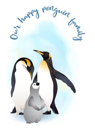Emperor penguins family with slogan. Vector illustration.