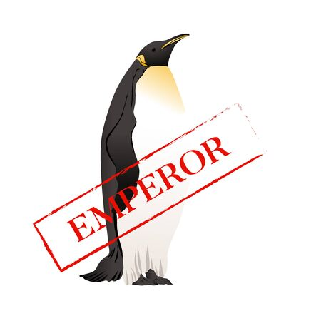 Emperor penguins  with slogan. Vector illustration. Banque d'images - 130792099