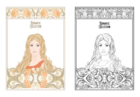 Portrait of a woman with long hair in floral frame in old, retro, art nouveau style. Colored and outline design. Vector illustration. Coloring page for the?adult coloring book with colored sample
