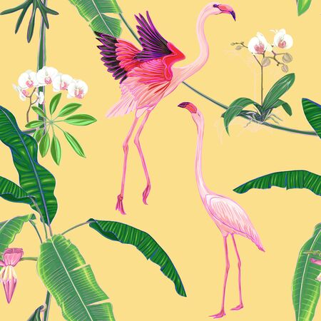 Seamless pattern, background. with tropical plants and flowers with white orchid and tropical birds. Colored vector illustration in neon, fluorescent colors on soft yellow background. Illustration