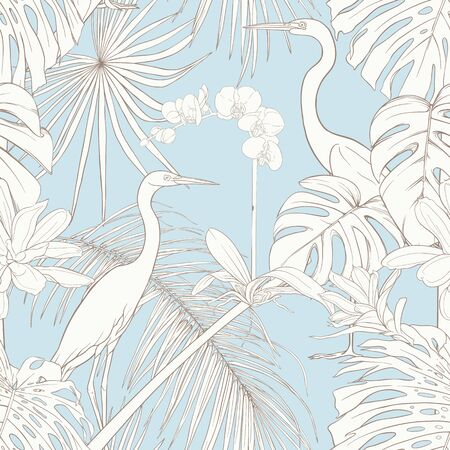 Seamless pattern, background. with tropical plants and flowers with white orchid and tropical birds. Outline hand drawing vector illustration. In vintage blue and beige colors. Illustration