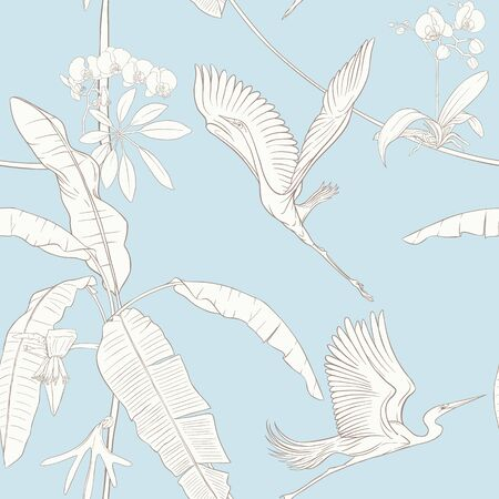 Seamless pattern, background. with tropical plants and flowers with white orchid and tropical birds. Outline hand drawing vector illustration. In vintage blue and beige colors. Çizim