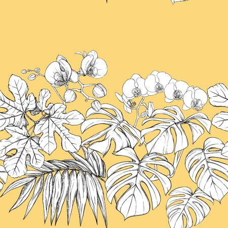 Tropical plants and white orchid flowers. Seamless pattern, background.  Graphic drawing, engraving style. vector illustration. On soft yellow background. Çizim