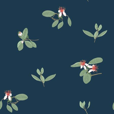 Seamless pattern, background with floral pattern with feijoa blooming flowers. Vector illustration without gradients and transparency.  On dark blue background.