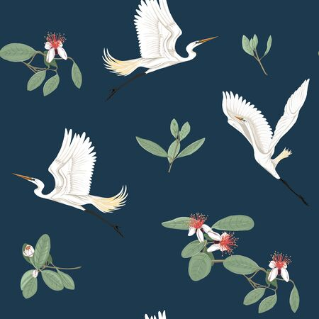 Seamless pattern, background with floral pattern with feijoa blooming flowers and herons. Vector illustration without gradients and transparency.  On dark blue background. Illustration