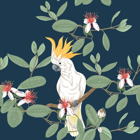 Seamless pattern, background with floral pattern with feijoa blooming flowers  and cockatoo parrot. Vector illustration without gradients and transparency.  On dark blue background.